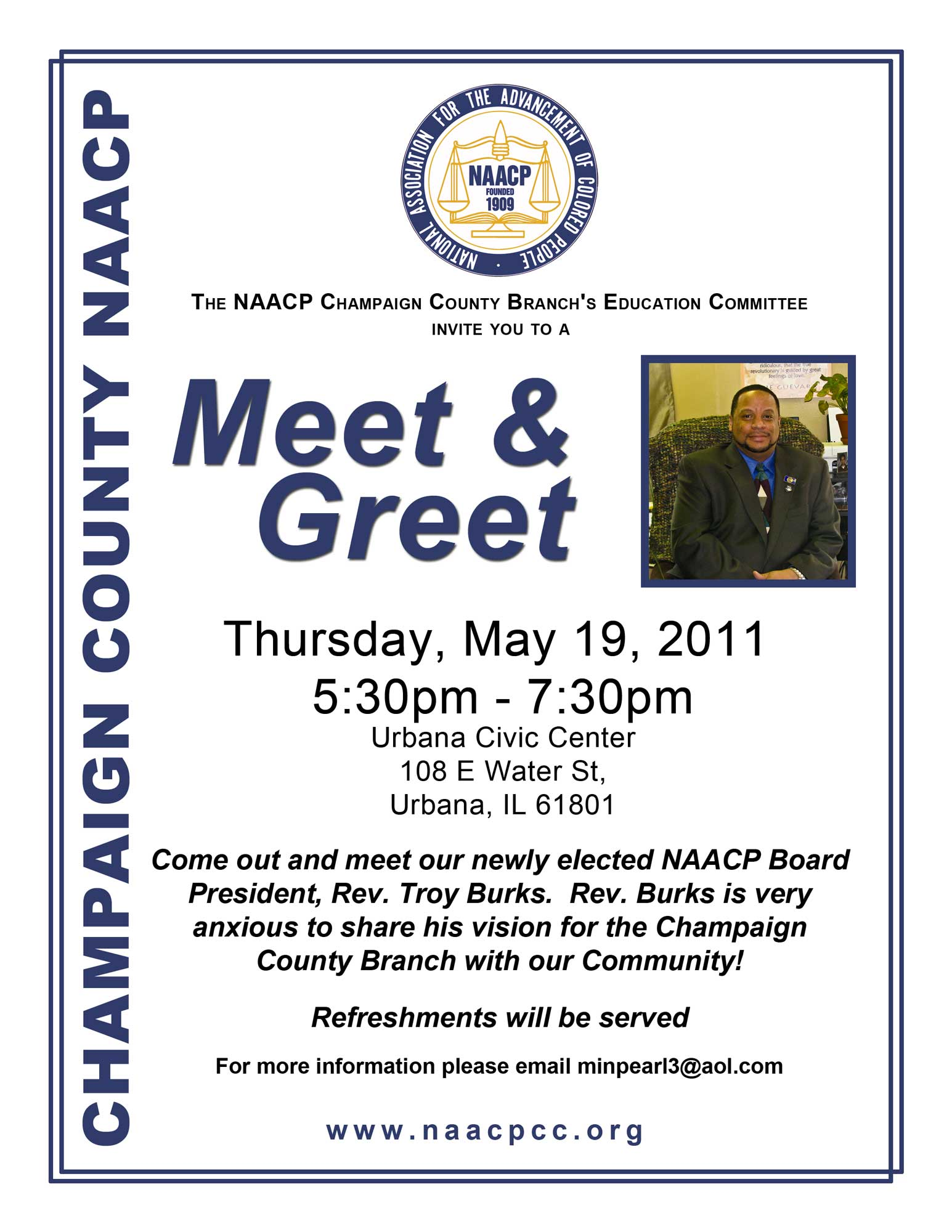 Eblack champaign urbana naacp new president meet and greet with files m4hsunfo